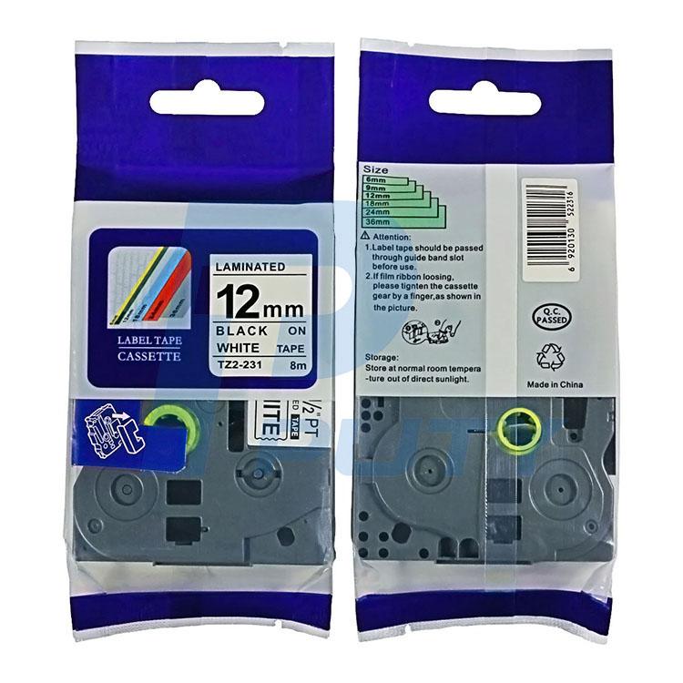 Nhãn in TZ2-231 / Chữ đen nền trắng / Black on White 12mm