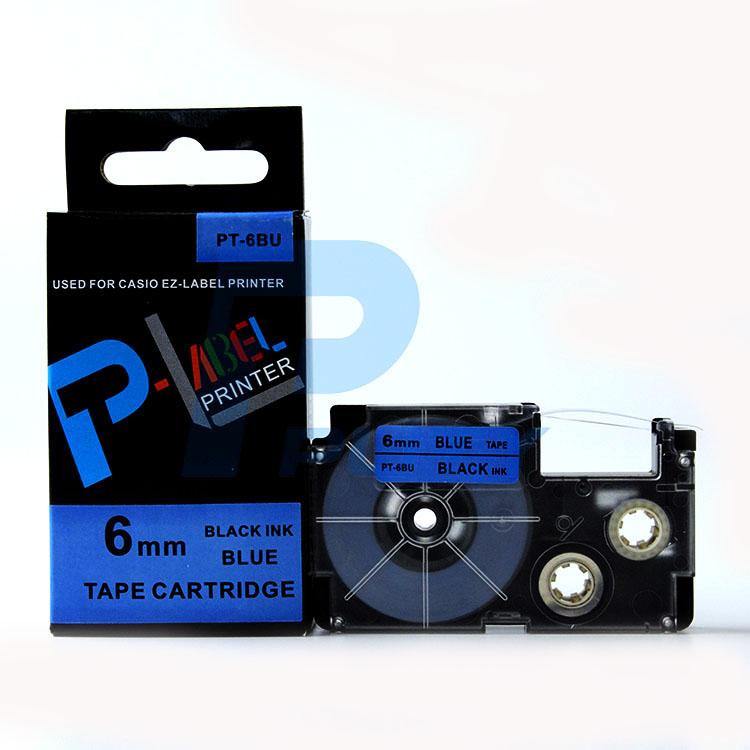 Nhãn in PT-6BU / Chữ đen nền xanh dương 6mm