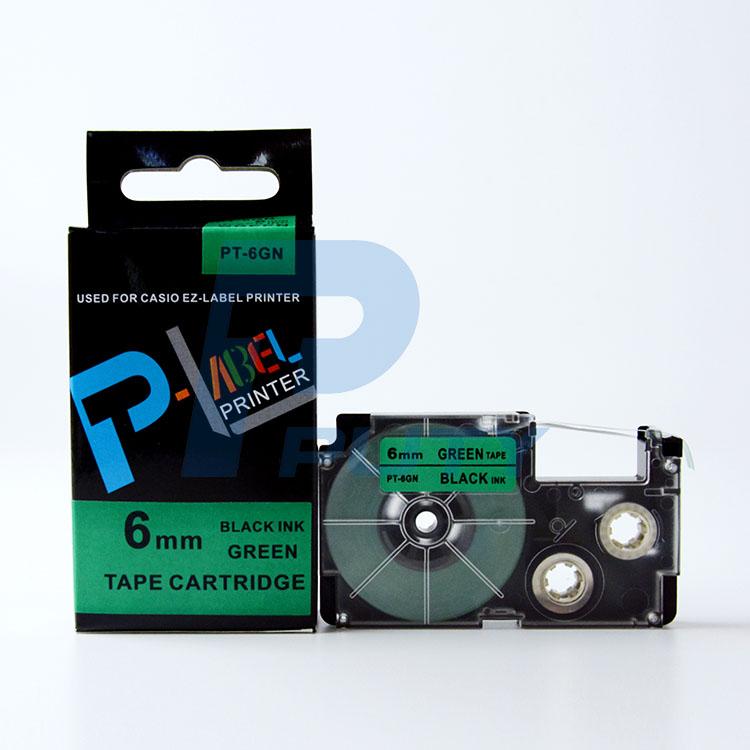 Nhãn in PT-6GN / Chữ đen nền xanh lá 6mm