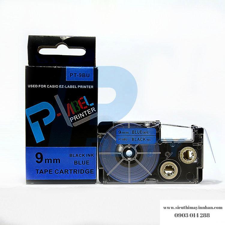 Nhãn in PT-9BU / Chữ đen nền xanh dương 6mm