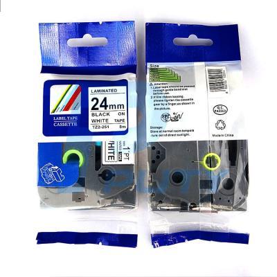 Nhãn in TZ2-251 / Chữ đen nền trắng / Black on White 24mm