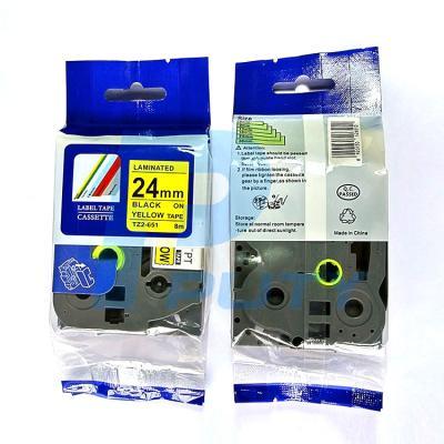 Nhãn in TZ2-651 / Chữ đen nền vàng / Black on Yellow 24mm
