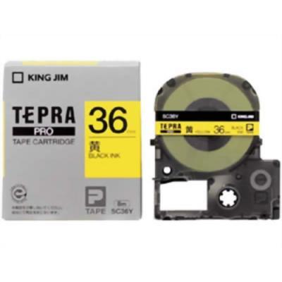 TEPRA SC36Y - Chữ đen nền vàng 36mm
