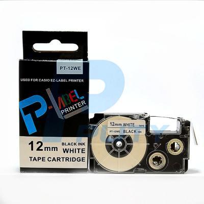 Nhãn in PT-12WE / Chữ đen nền trắng 12mm