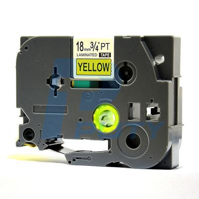 Nhãn in TZ2-S641 / Nhãn siêu dính 18mm / Chữ đen nền vàng