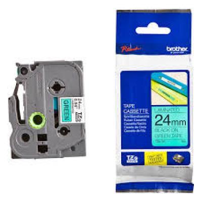 Brother TZe-FX751 / Chữ đen, nền xanh lá  24mm - siêu dẻo