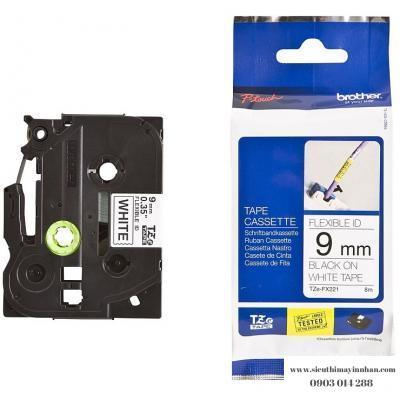 Brother TZe-FX221 / Chữ đen, nền trắng 9mm - siêu dẻo