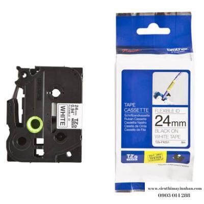 Brother TZe-FX251 / Chữ đen, nền trắng 24mm - siêu dẻo