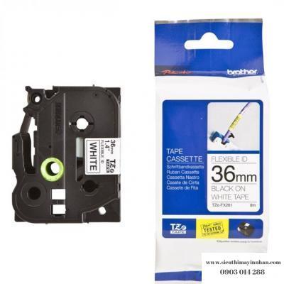 Brother TZe-FX261 / Chữ đen, nền trắng 36mm - siêu dẻo
