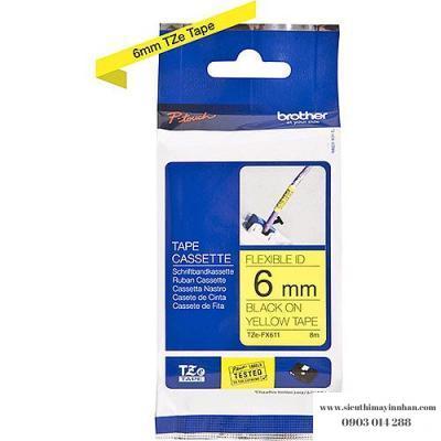 Brother TZe-FX611 / Chữ đen, nền vàng 6mm - siêu dẻo