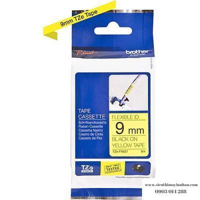 Brother TZe-FX621 / Chữ đen, nền vàng 9mm - siêu dẻo