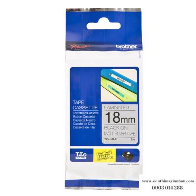 Brother TZe-M941 / Chữ đen, nền bạc mờ 18mm