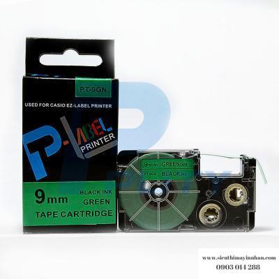 Nhãn in PT-9GN / Chữ đen nền xanh lá 9mm