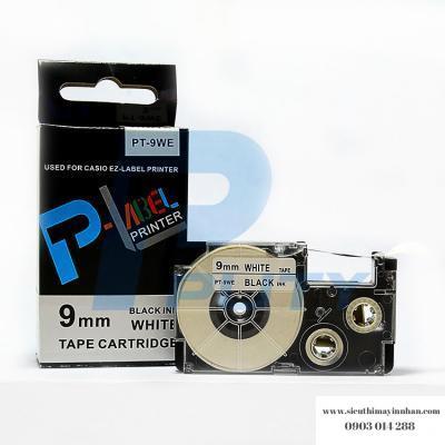 Nhãn in PT-9WE / Chữ đen nền trắng 9mm