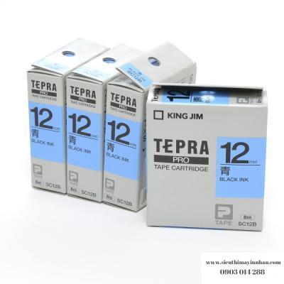 TEPRA SC12B - Chữ đen nền xanh dương 12mm