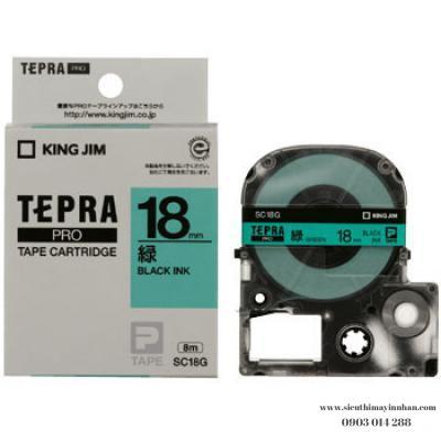 TEPRA SC18G - Chữ đen nền xanh lá 18mm