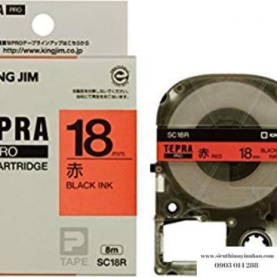 TEPRA SC18R- Chữ đen nền đỏ 18mm