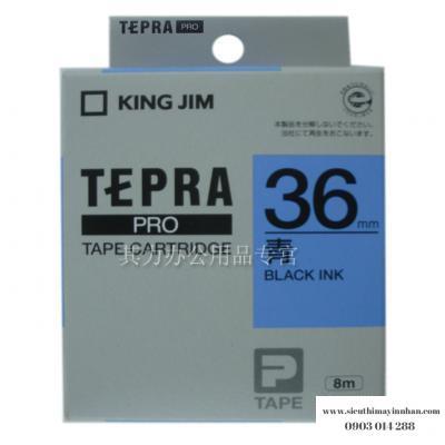 TEPRA SC36B - Chữ đen nền xanh dương 36mm