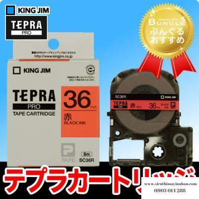 TEPRA SC36R- Chữ đen nền đỏ 36mm
