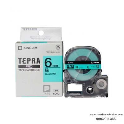 TEPRA SC6G - Chữ đen nền xanh lá 6mm