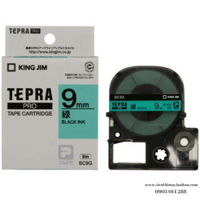 TEPRA SC9G - Chữ đen nền xanh lá 9mm