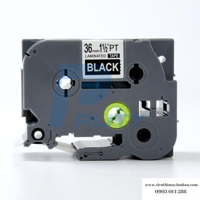 Nhãn in TZ2-365 / Chữ trắng nền đen / White on Black 36mm