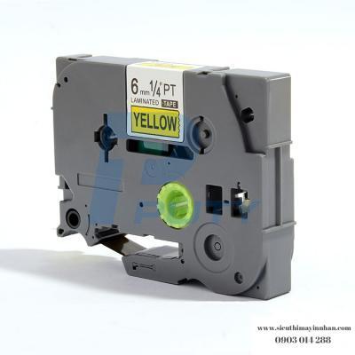 NHÃN IN TZ2-611 / Chữ đen nền vàng / Black on Yellow 6mm